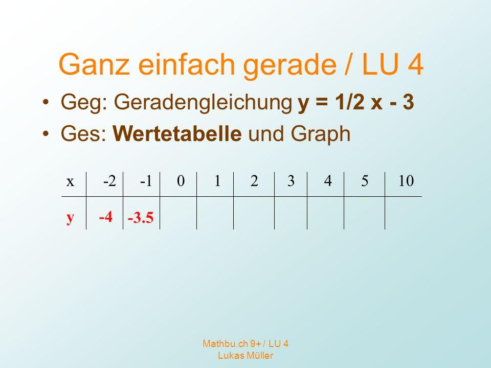Mathbu.ch 9+ / LU 4 Lukas Müller Ganz einfach gerade / LU 4 Geg: Geradengleichung y = 1/2 x - 3 Ges: Wertetabelle und Graph x y -2 -4 -3.5 01234510