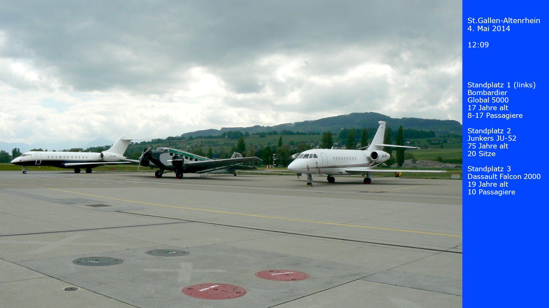 St.Gallen-Altenrhein 4. Mai 2014 12:09 Standplatz 1 (links) Bombardier Global 5000 17 Jahre alt 8-17 Passagiere Standplatz 2 Junkers JU-52 75 Jahre al