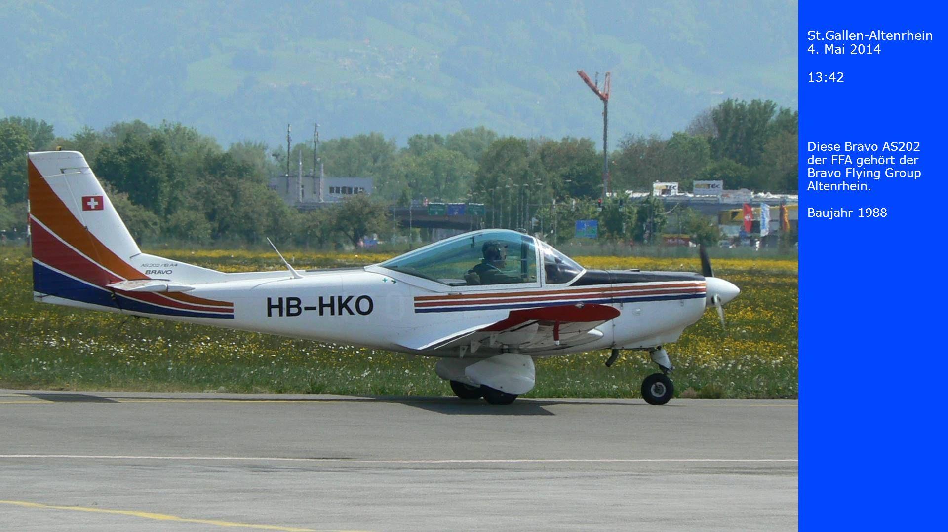 St.Gallen-Altenrhein 4. Mai 2014 13:42 Diese Bravo AS202 der FFA gehört der Bravo Flying Group Altenrhein. Baujahr 1988