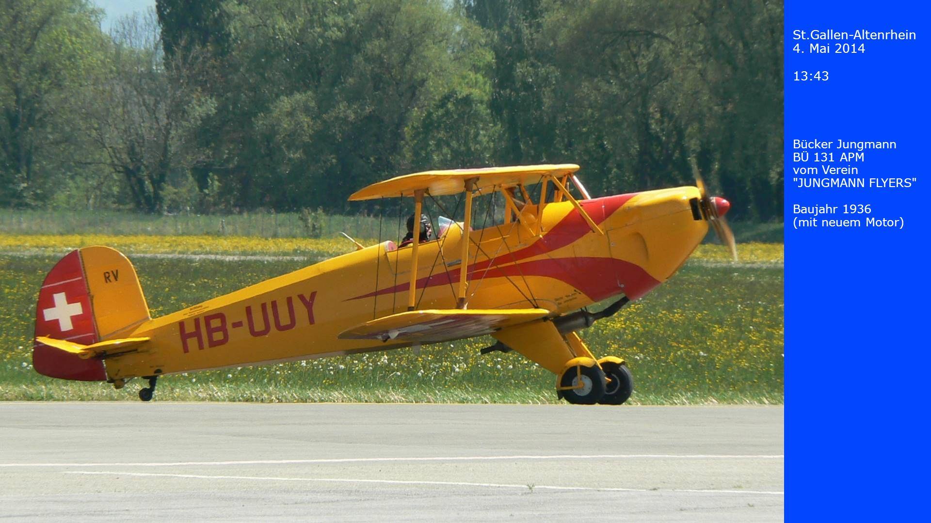 St.Gallen-Altenrhein 4. Mai 2014 13:43 Boeing Stearman vom Verein JUNGMANN FLYERS Baujahr 1936