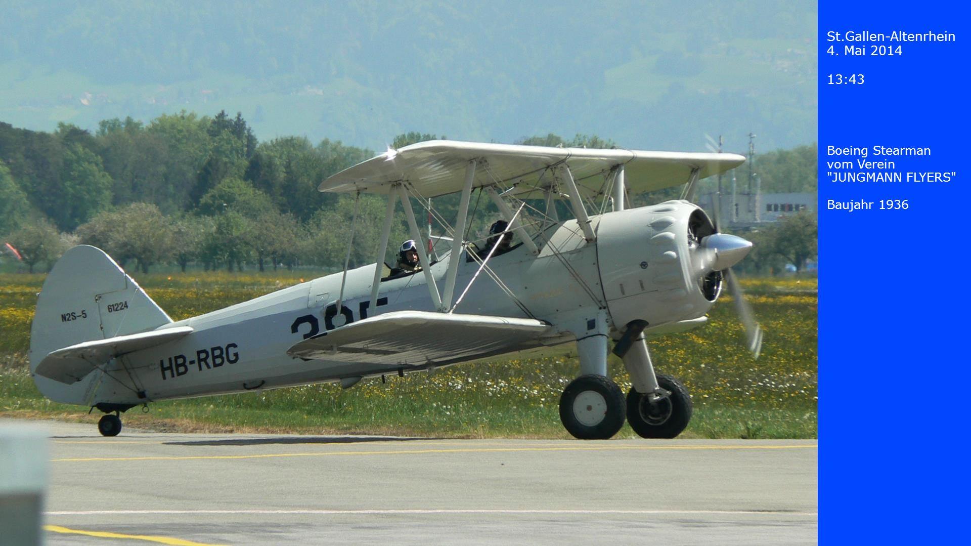 St.Gallen-Altenrhein 4.Mai 2014 13:44 Jakowlew Jak-52, ein damals sowjetisches Schulungsflugzeug.