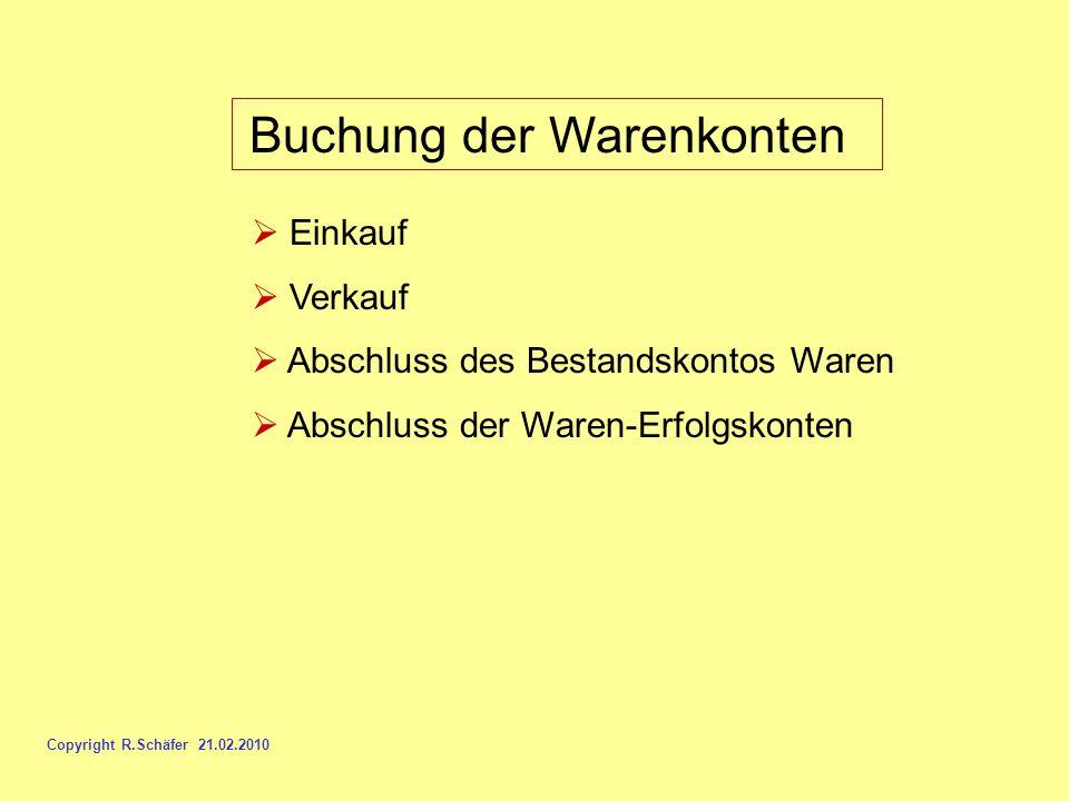 Buchung der Warenkonten Einkauf Verkauf Abschluss des Bestandskontos Waren Abschluss der Waren-Erfolgskonten Copyright R.Schäfer 21.02.2010
