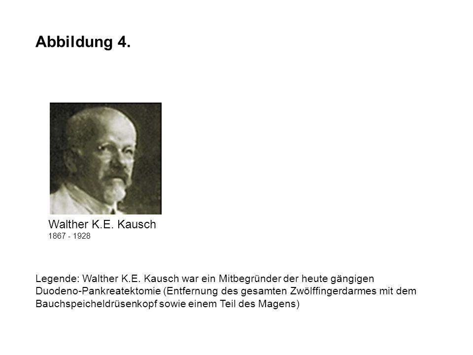 Abbildung 4. Legende: Walther K.E. Kausch war ein Mitbegründer der heute gängigen Duodeno-Pankreatektomie (Entfernung des gesamten Zwölffingerdarmes m