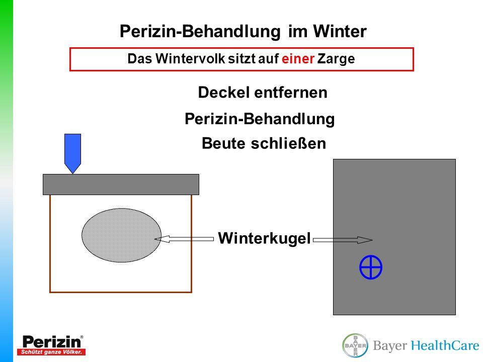Perizin-Behandlung im Winter Das Wintervolk sitzt auf einer Zarge Winterkugel Perizin-Behandlung Deckel entfernen Beute schließen