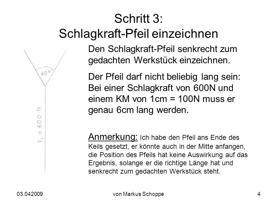 03.042009von Markus Schoppe4 Schritt 3: Schlagkraft-Pfeil einzeichnen Den Schlagkraft-Pfeil senkrecht zum gedachten Werkstück einzeichnen.