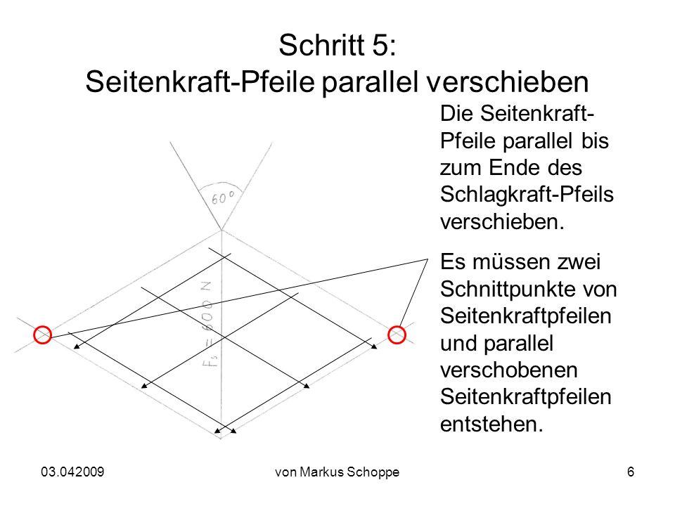 03.042009von Markus Schoppe6 Schritt 5: Seitenkraft-Pfeile parallel verschieben Die Seitenkraft- Pfeile parallel bis zum Ende des Schlagkraft-Pfeils verschieben.