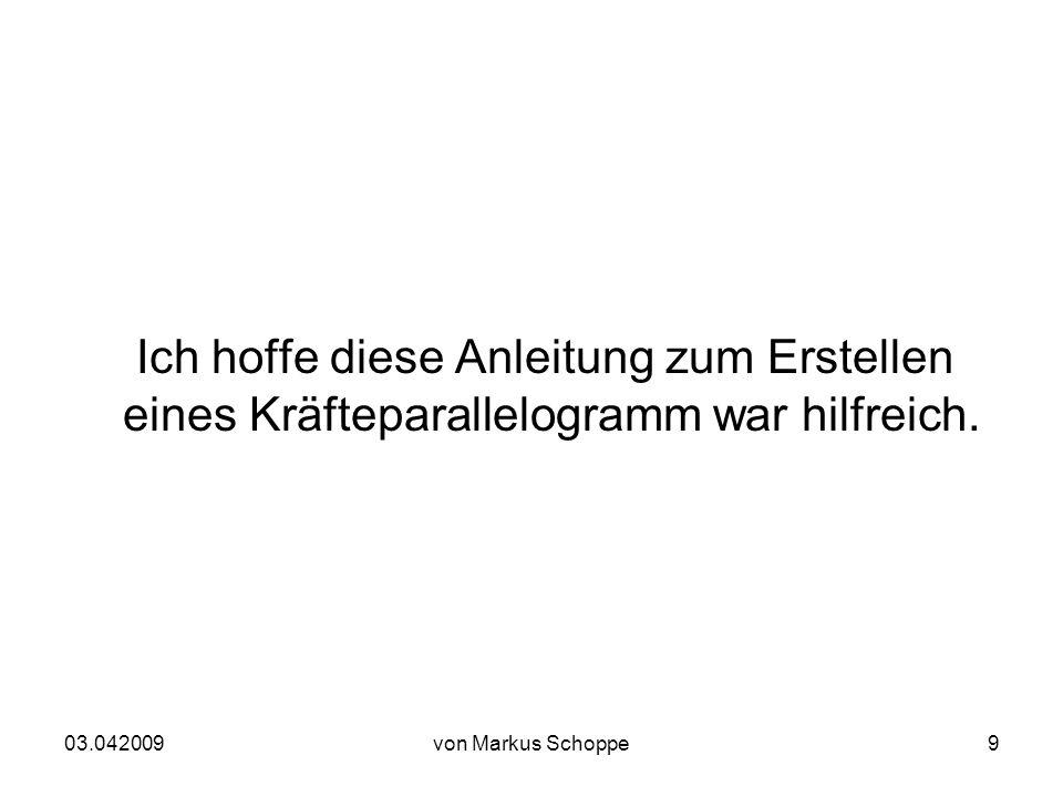03.042009von Markus Schoppe9 Ich hoffe diese Anleitung zum Erstellen eines Kräfteparallelogramm war hilfreich.