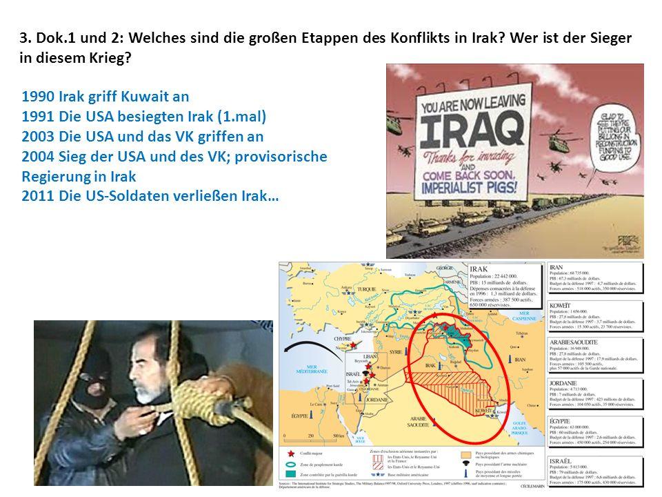 3. Dok.1 und 2: Welches sind die großen Etappen des Konflikts in Irak? Wer ist der Sieger in diesem Krieg? 1990 Irak griff Kuwait an 1991 Die USA besi
