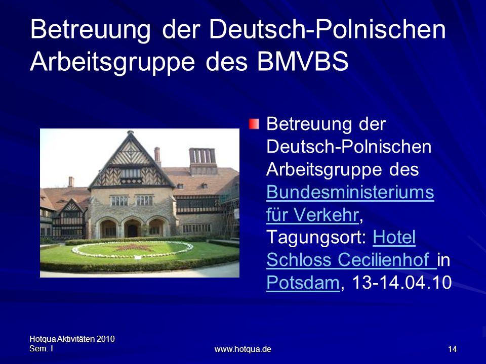 Hotqua Aktivitäten 2010 Sem. I www.hotqua.de 14 Betreuung der Deutsch-Polnischen Arbeitsgruppe des BMVBS Betreuung der Deutsch-Polnischen Arbeitsgrupp