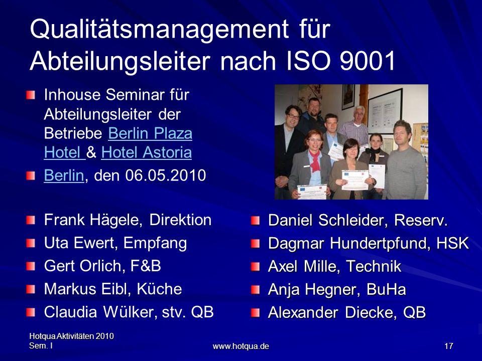 Hotqua Aktivitäten 2010 Sem. I www.hotqua.de 17 Qualitätsmanagement für Abteilungsleiter nach ISO 9001 Inhouse Seminar für Abteilungsleiter der Betrie