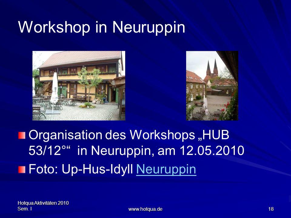 Hotqua Aktivitäten 2010 Sem. I www.hotqua.de 18 Workshop in Neuruppin Organisation des Workshops HUB 53/12° in Neuruppin, am 12.05.2010 Foto: Up-Hus-I