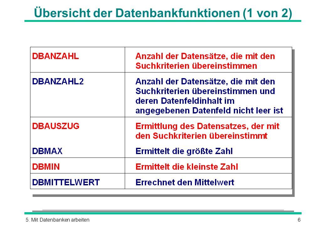 5. Mit Datenbanken arbeiten6 Übersicht der Datenbankfunktionen (1 von 2)