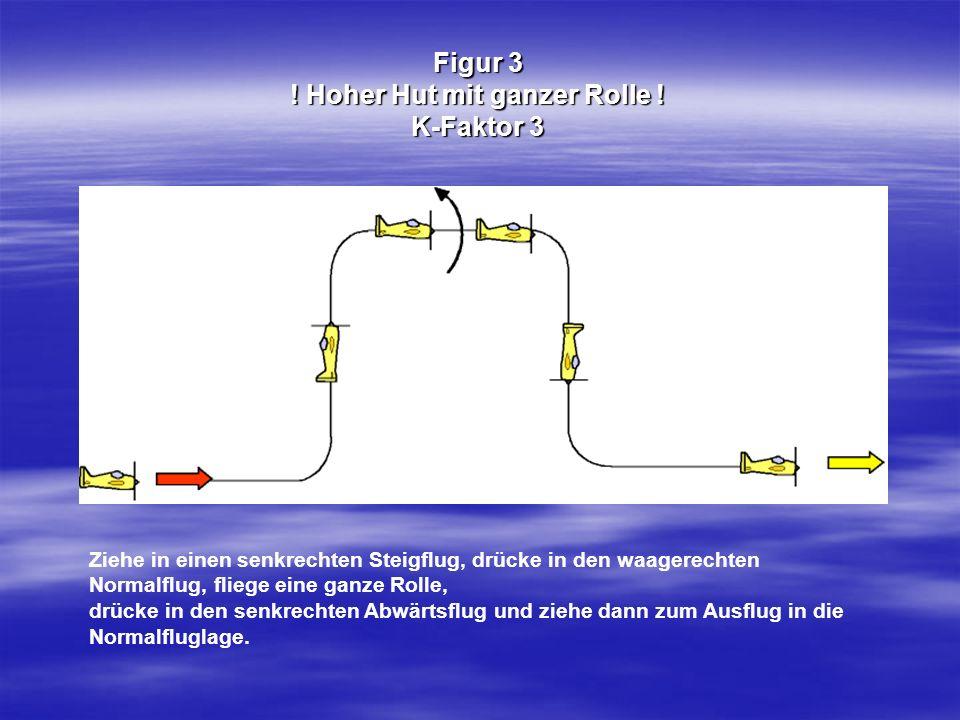 Figur 3 ! Hoher Hut mit ganzer Rolle ! K-Faktor 3 Ziehe in einen senkrechten Steigflug, drücke in den waagerechten Normalflug, fliege eine ganze Rolle
