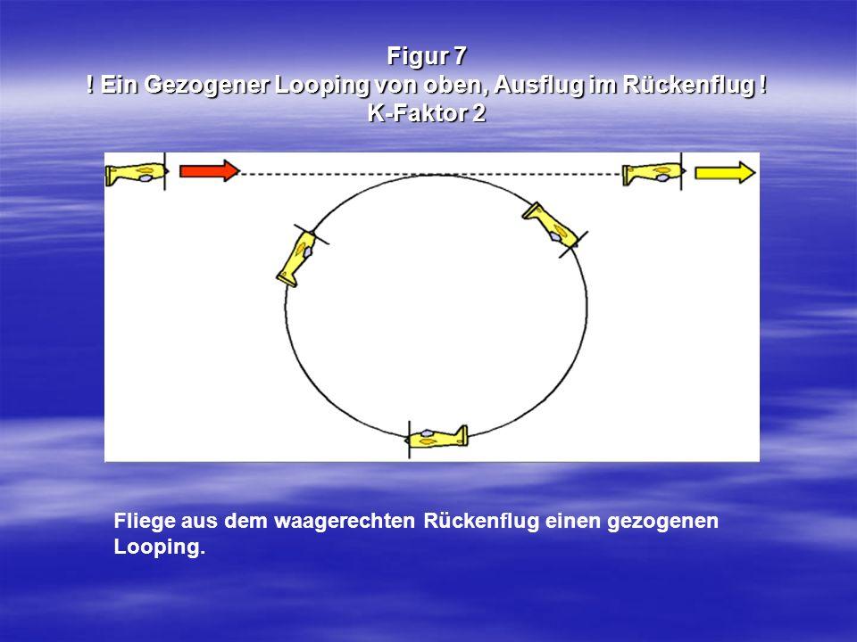 Figur 7 ! Ein Gezogener Looping von oben, Ausflug im Rückenflug ! K-Faktor 2 Fliege aus dem waagerechten Rückenflug einen gezogenen Looping.