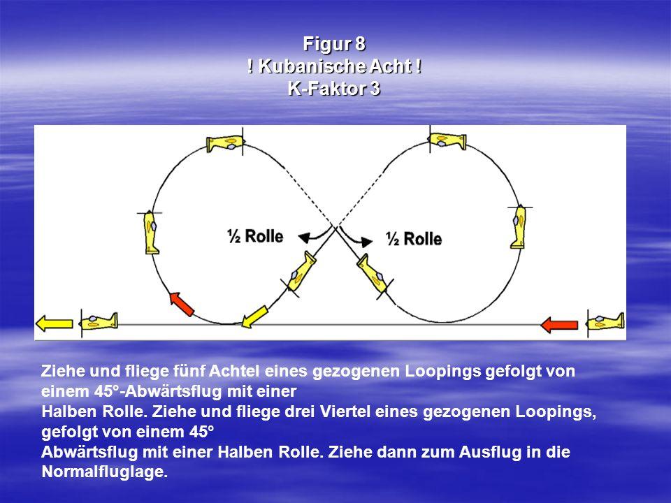 Figur 8 ! Kubanische Acht ! K-Faktor 3 Ziehe und fliege fünf Achtel eines gezogenen Loopings gefolgt von einem 45°-Abwärtsflug mit einer Halben Rolle.