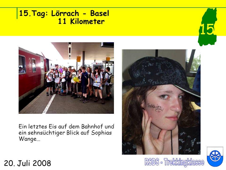 15.Tag: Lörrach - Basel 11 Kilometer 20. Juli 2008 15 Ein letztes Eis auf dem Bahnhof und ein sehnsüchtiger Blick auf Sophias Wange…