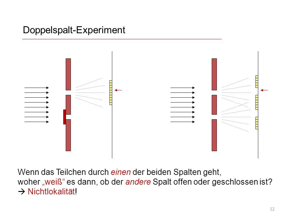 Doppelspalt-Experiment Wenn das Teilchen durch einen der beiden Spalten geht, woher weiß es dann, ob der andere Spalt offen oder geschlossen ist.