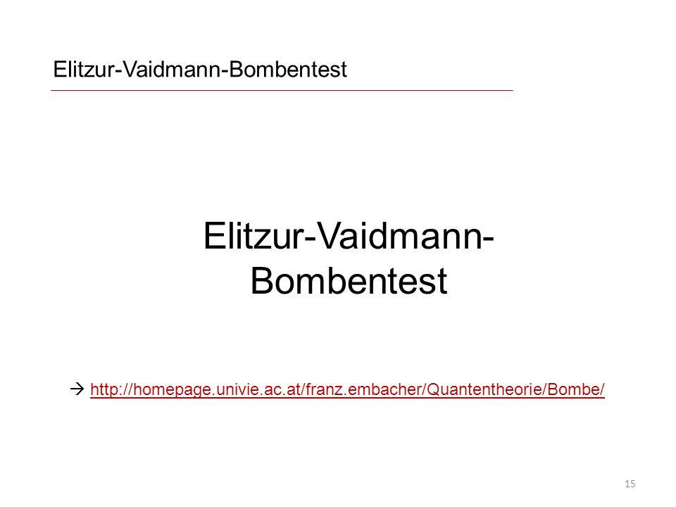 Elitzur-Vaidmann-Bombentest http://homepage.univie.ac.at/franz.embacher/Quantentheorie/Bombe/http://homepage.univie.ac.at/franz.embacher/Quantentheorie/Bombe/ Elitzur-Vaidmann- Bombentest 15