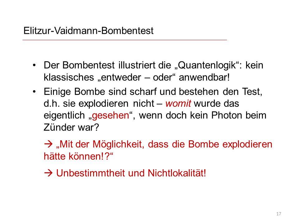 Elitzur-Vaidmann-Bombentest Der Bombentest illustriert die Quantenlogik: kein klassisches entweder – oder anwendbar! Einige Bombe sind scharf und best