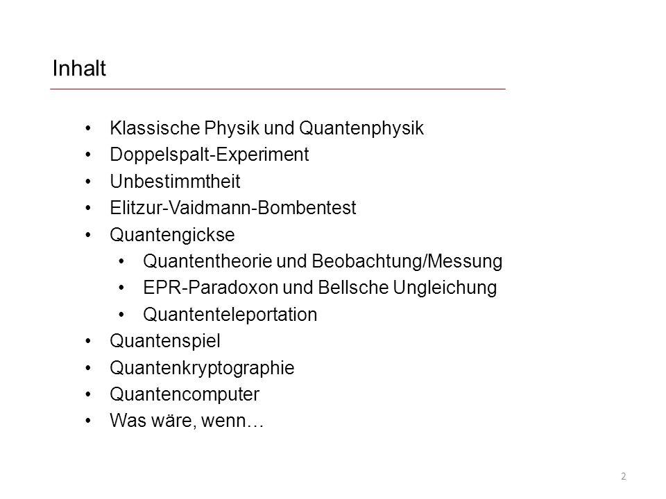 Inhalt Klassische Physik und Quantenphysik Doppelspalt-Experiment Unbestimmtheit Elitzur-Vaidmann-Bombentest Quantengickse Quantentheorie und Beobacht