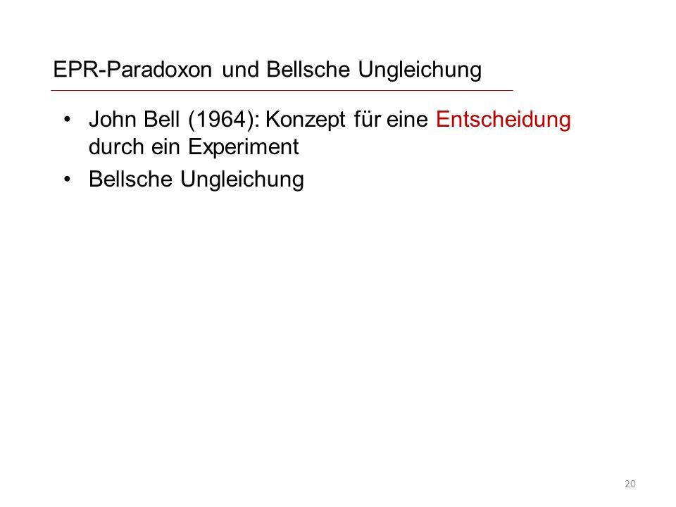 EPR-Paradoxon und Bellsche Ungleichung John Bell (1964): Konzept für eine Entscheidung durch ein Experiment Bellsche Ungleichung 20