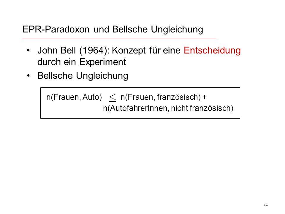 EPR-Paradoxon und Bellsche Ungleichung John Bell (1964): Konzept für eine Entscheidung durch ein Experiment Bellsche Ungleichung n(Frauen, Auto) n(Frauen, französisch) + n(AutofahrerInnen, nicht französisch) 21
