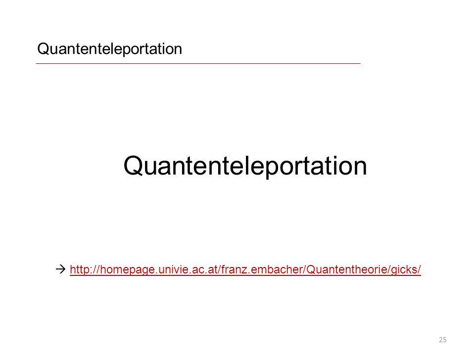 Quantenteleportation 25 http://homepage.univie.ac.at/franz.embacher/Quantentheorie/gicks/
