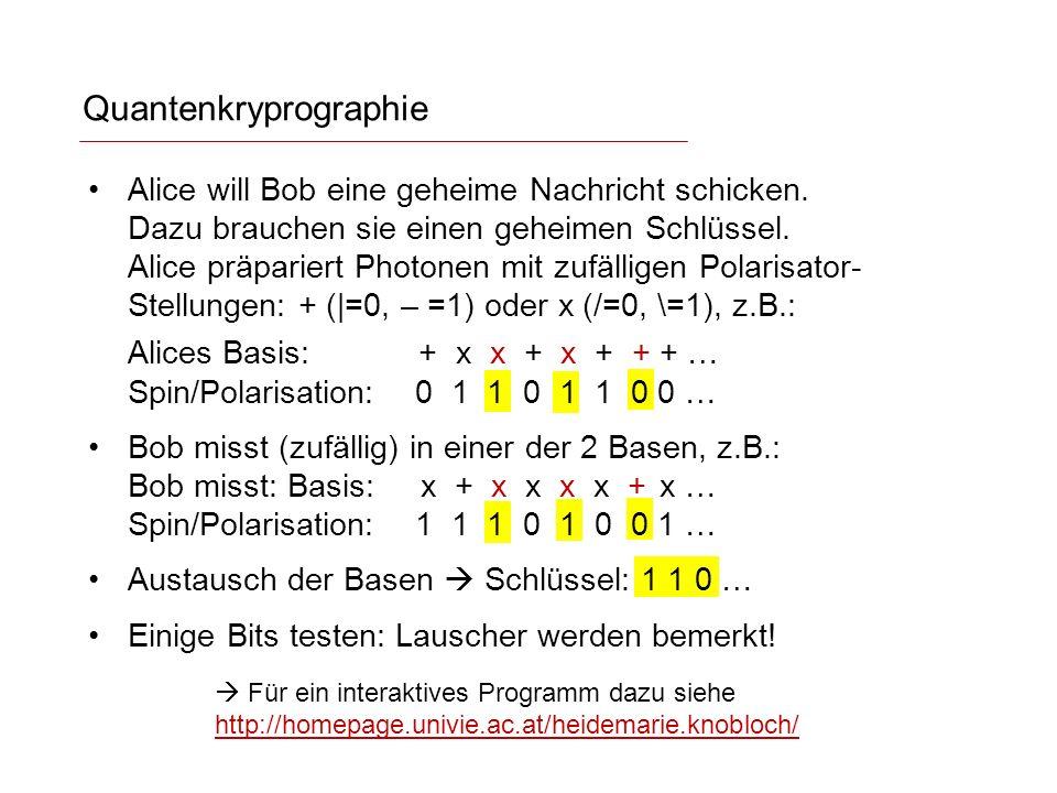 Quantenkryprographie Für ein interaktives Programm dazu siehe http://homepage.univie.ac.at/heidemarie.knobloch/ http://homepage.univie.ac.at/heidemarie.knobloch/ Alice will Bob eine geheime Nachricht schicken.
