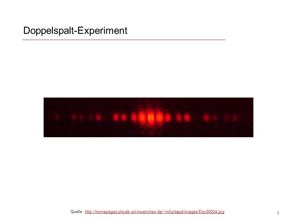 Doppelspalt-Experiment Quelle: http://homepages.physik.uni-muenchen.de/~milq/kap4/images/Dsc00024.jpghttp://homepages.physik.uni-muenchen.de/~milq/kap4/images/Dsc00024.jpg 8