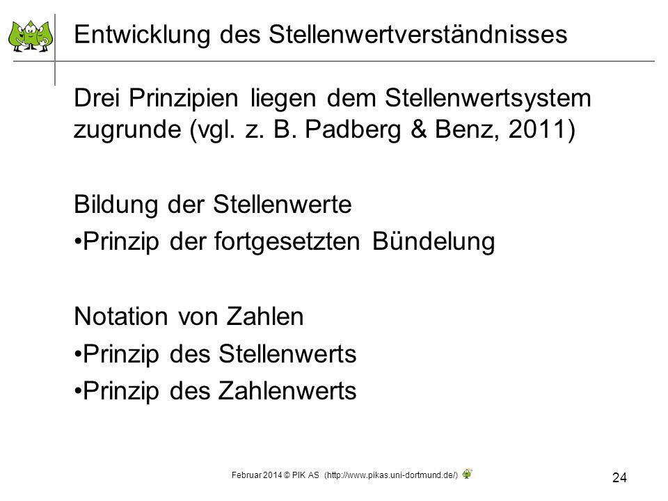 Entwicklung des Stellenwertverständnisses Drei Prinzipien liegen dem Stellenwertsystem zugrunde (vgl. z. B. Padberg & Benz, 2011) Bildung der Stellenw