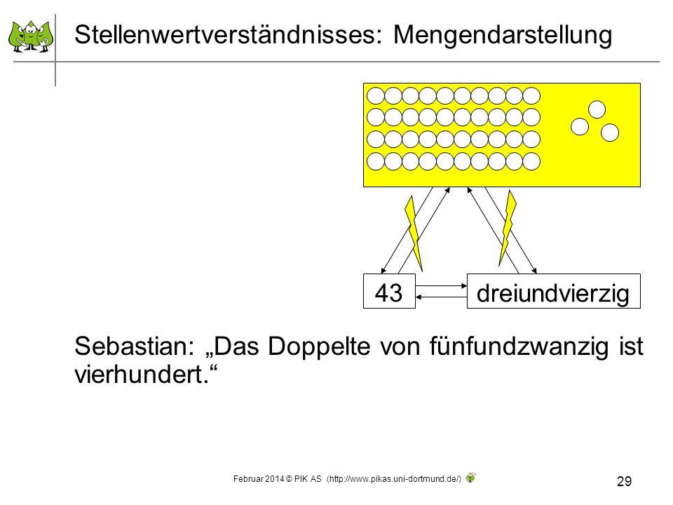 Stellenwertverständnisses: Mengendarstellung Sebastian: Das Doppelte von fünfundzwanzig ist vierhundert. 29 Februar 2014 © PIK AS (http://www.pikas.un
