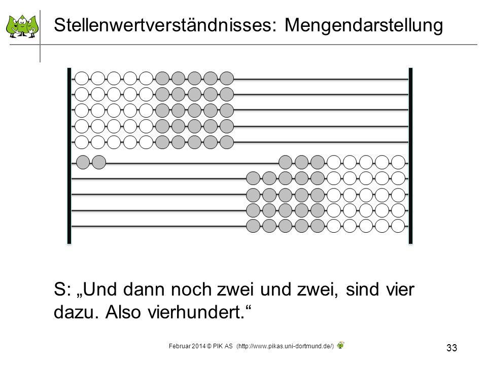 Stellenwertverständnisses: Mengendarstellung S: Und dann noch zwei und zwei, sind vier dazu. Also vierhundert. 33 Februar 2014 © PIK AS (http://www.pi