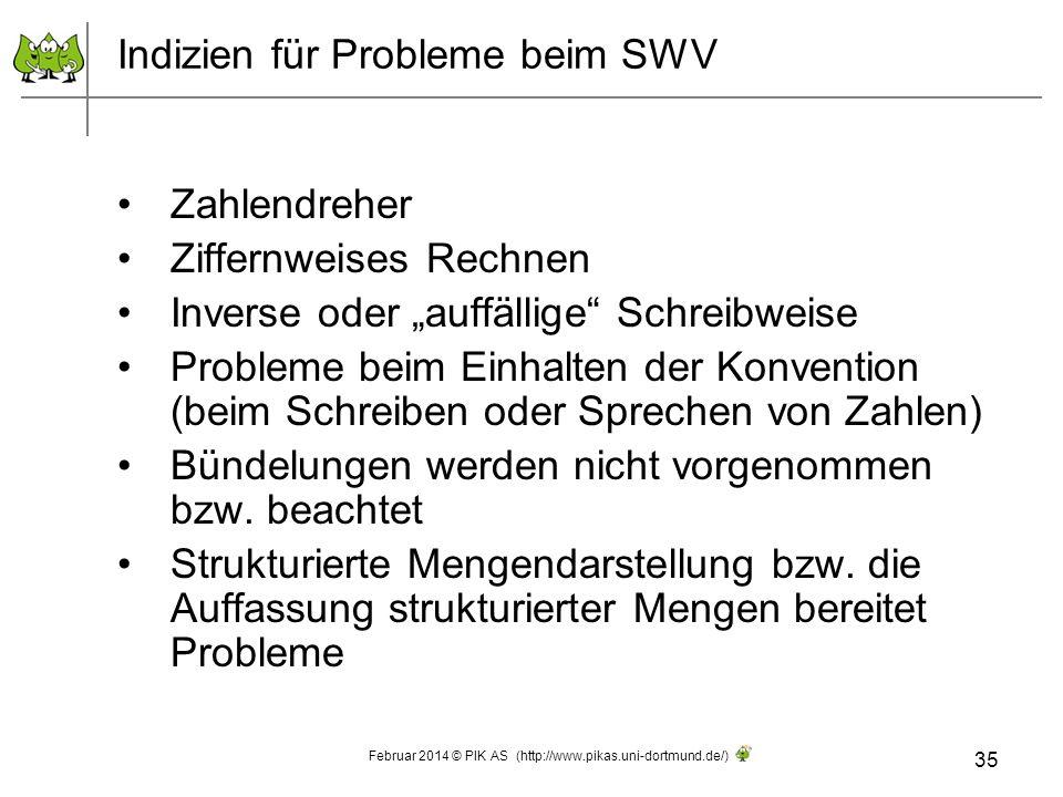 Indizien für Probleme beim SWV Zahlendreher Ziffernweises Rechnen Inverse oder auffällige Schreibweise Probleme beim Einhalten der Konvention (beim Sc