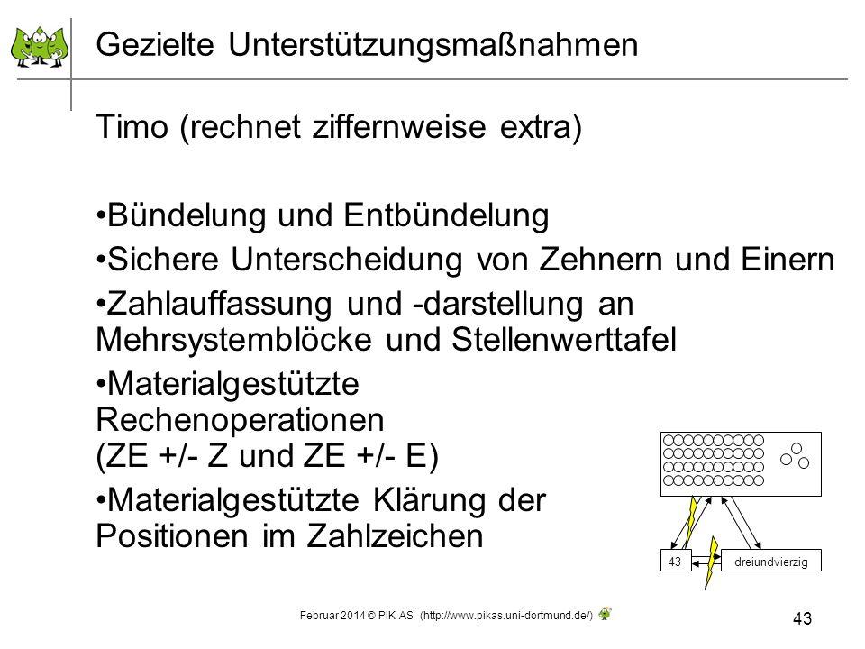 Gezielte Unterstützungsmaßnahmen Timo (rechnet ziffernweise extra) Bündelung und Entbündelung Sichere Unterscheidung von Zehnern und Einern Zahlauffas