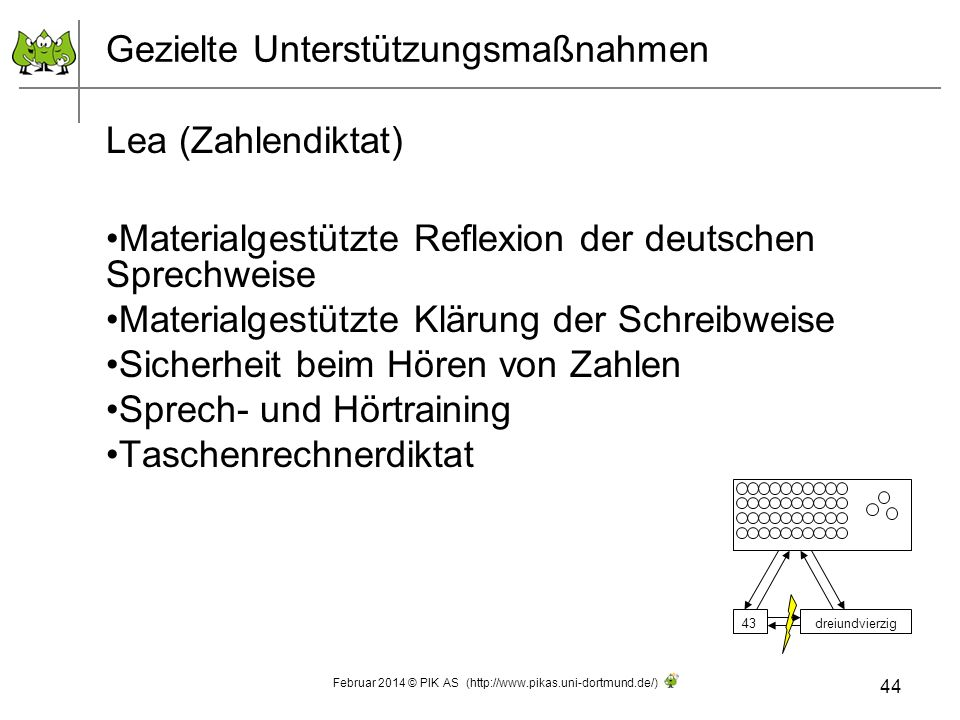 Gezielte Unterstützungsmaßnahmen Lea (Zahlendiktat) Materialgestützte Reflexion der deutschen Sprechweise Materialgestützte Klärung der Schreibweise S