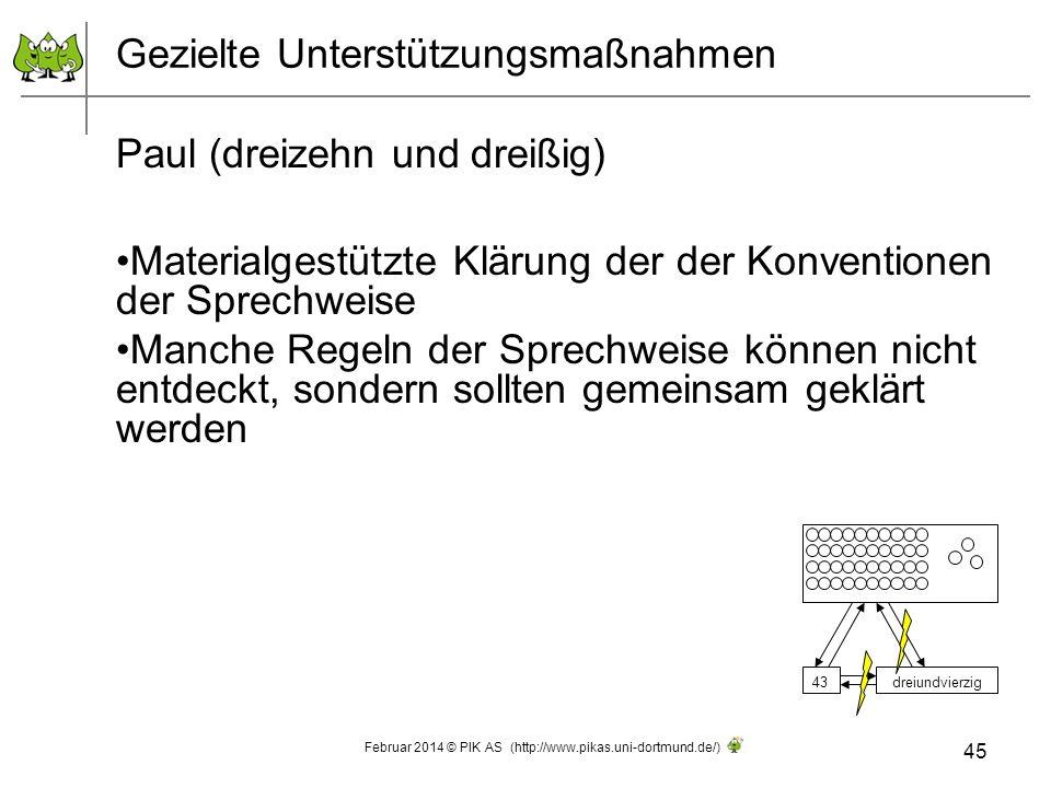 Gezielte Unterstützungsmaßnahmen Paul (dreizehn und dreißig) Materialgestützte Klärung der der Konventionen der Sprechweise Manche Regeln der Sprechwe