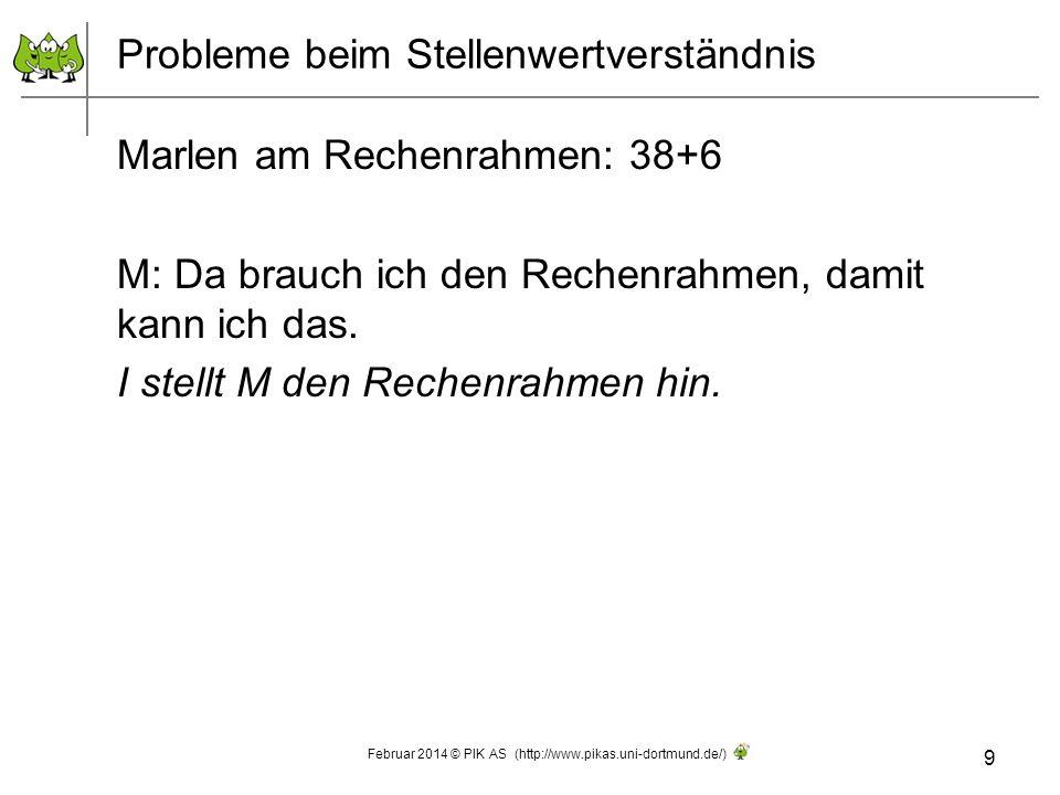 Probleme beim Stellenwertverständnis Marlen am Rechenrahmen: 38+6 M: Da brauch ich den Rechenrahmen, damit kann ich das. I stellt M den Rechenrahmen h