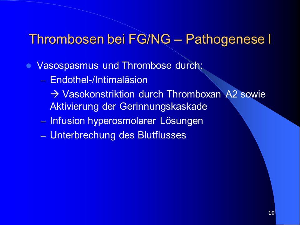 10 Thrombosen bei FG/NG – Pathogenese I Vasospasmus und Thrombose durch: – Endothel-/Intimaläsion Vasokonstriktion durch Thromboxan A2 sowie Aktivieru
