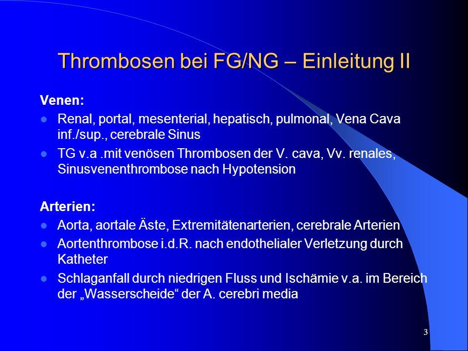 4 Thrombosen bei FG/NG - Einleitung Erhöhtes Risiko durch: Polyglobulie mit erhöhter Viskosität Kleine Gefässdurchmesser, v.a.