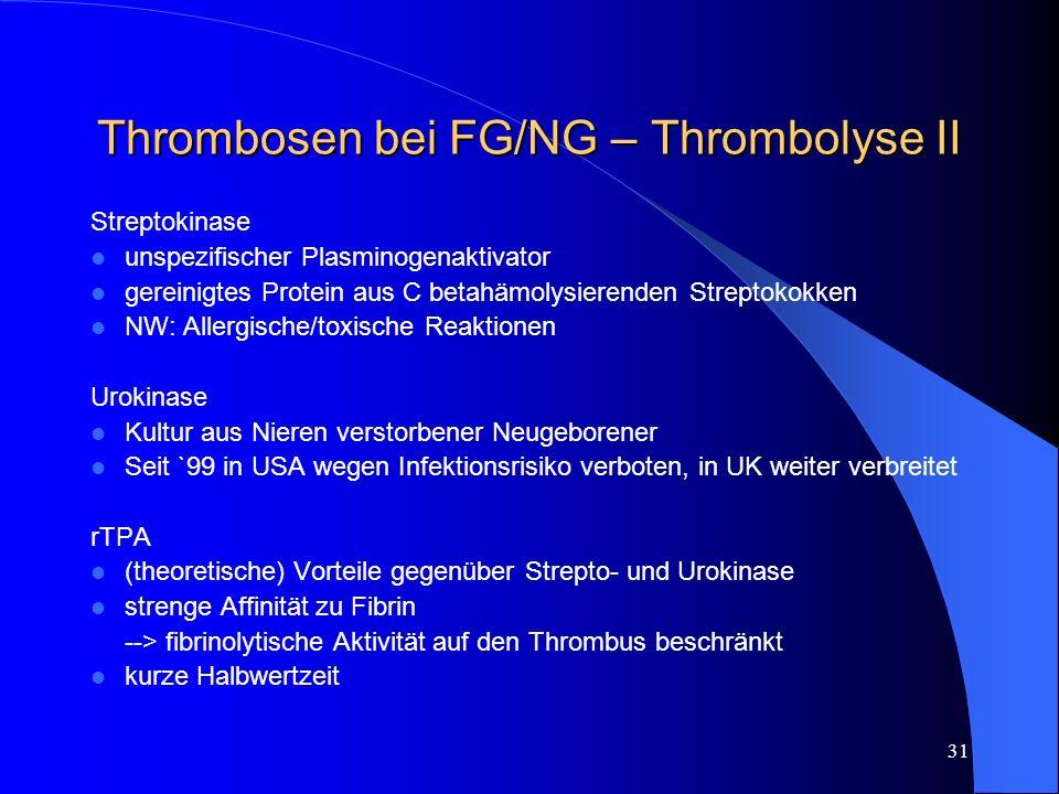 31 Thrombosen bei FG/NG – Thrombolyse II Streptokinase unspezifischer Plasminogenaktivator gereinigtes Protein aus C betahämolysierenden Streptokokken