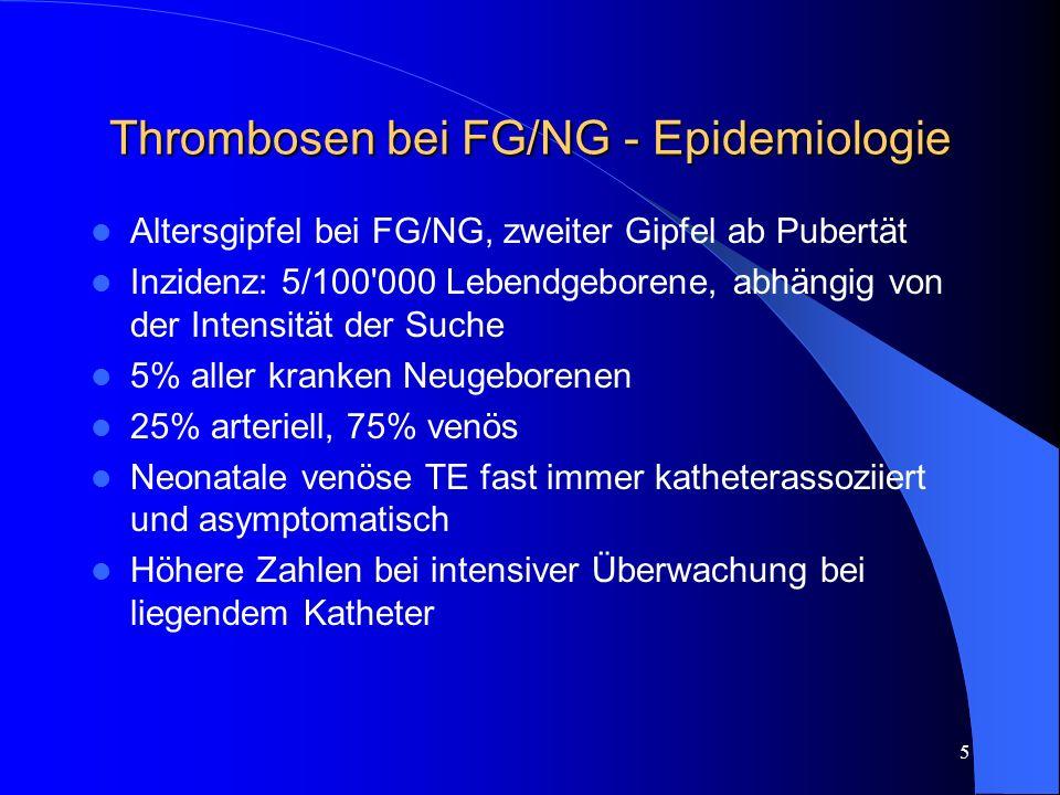 6 Thrombosen bei FG/NG – Diagnostik I (Familien-)Anamnese/Klinik Sonographie Doppler-/Duplex-Sonographie – Sensitivität/Spezifität unklar, bei NVK oft unsicher Eventuell Phlebo-/Angiographie – Kontrast Angiographie ist Goldstandard, aber bei kranken NG oft schlecht durchführbar MRT-Angiographie