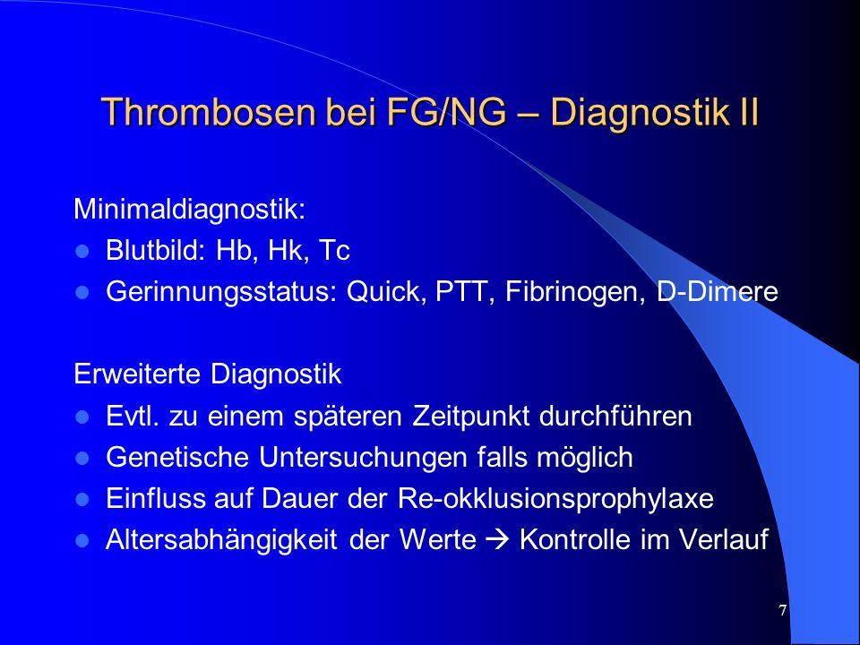 8 Thrombosen bei FG/NG – Ursachen I Angeboren (selten alleinige Ursache) Selten: Inhibitorenmangel – AT-Mangel, Protein C-/S-Mangel Häufiger: Genetische Defekte – Faktor-V-Leiden-G1691A-Mutation, hetero-/homozygot – Prothrombin-G20210A-Mutation, hetero-/homozygot – Methyltetrahydrofolatreduktase-(MTHFR)-Polymorphismus, homozygot – Lipoprotein-(a) Erhöhung (endgültiger Wert nach 1.