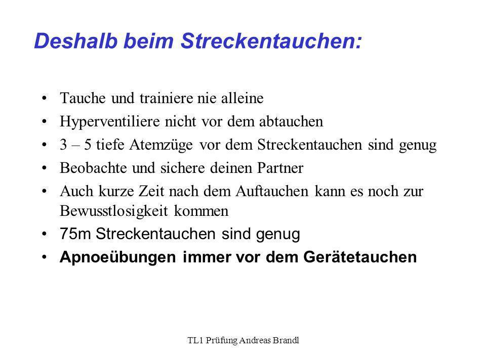 TL1 Prüfung Andreas Brandl Deshalb beim Streckentauchen: Tauche und trainiere nie alleine Hyperventiliere nicht vor dem abtauchen 3 – 5 tiefe Atemzüge