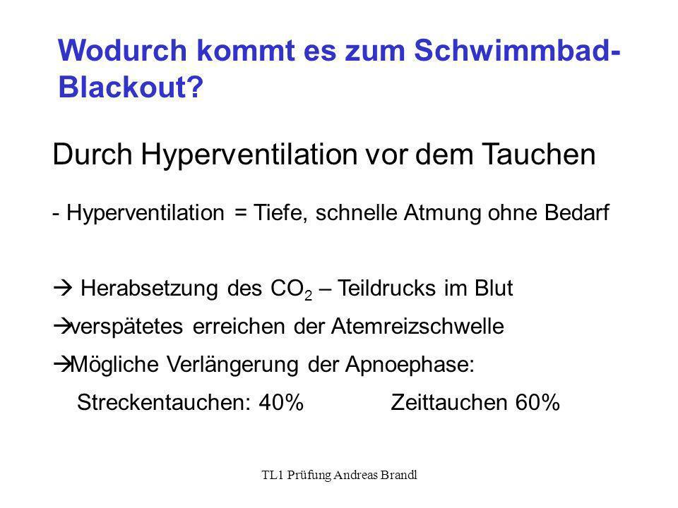 TL1 Prüfung Andreas Brandl Wodurch kommt es zum Schwimmbad- Blackout? Durch Hyperventilation vor dem Tauchen - Hyperventilation = Tiefe, schnelle Atmu