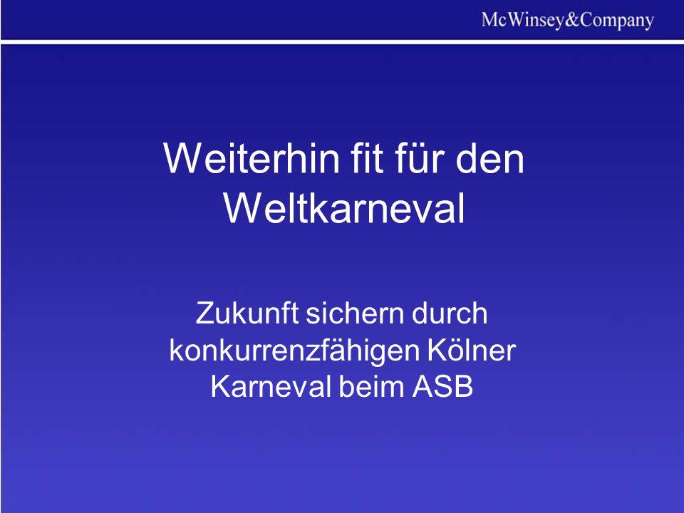Weiterhin fit für den Weltkarneval Zukunft sichern durch konkurrenzfähigen Kölner Karneval beim ASB