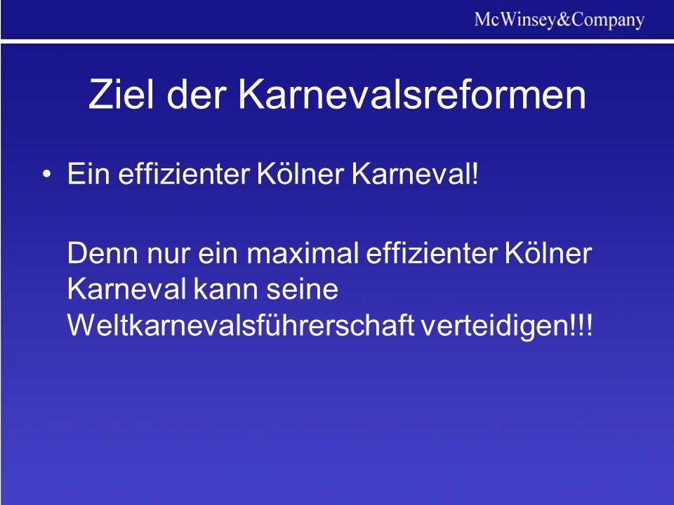 Ziel der Karnevalsreformen Ein effizienter Kölner Karneval.