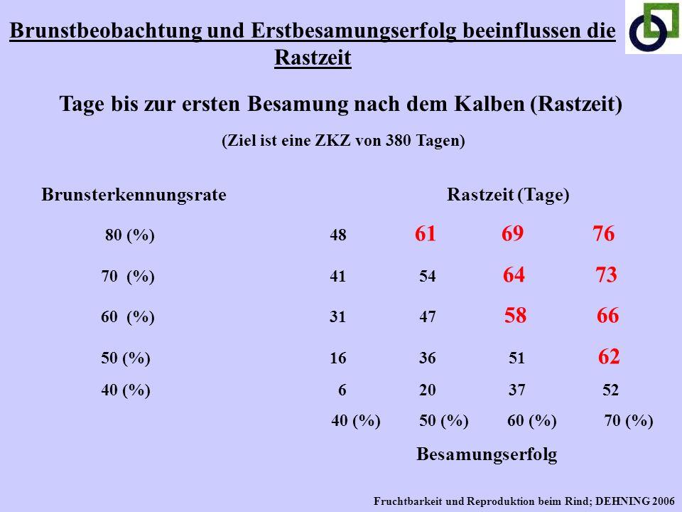 Brunsterkennungsrate Rastzeit (Tage) 80 (%) 48 61 69 76 70 (%) 41 54 64 73 60 (%) 31 47 58 66 50 (%) 16 36 51 62 40 (%) 6 20 37 52 40 (%) 50 (%) 60 (%