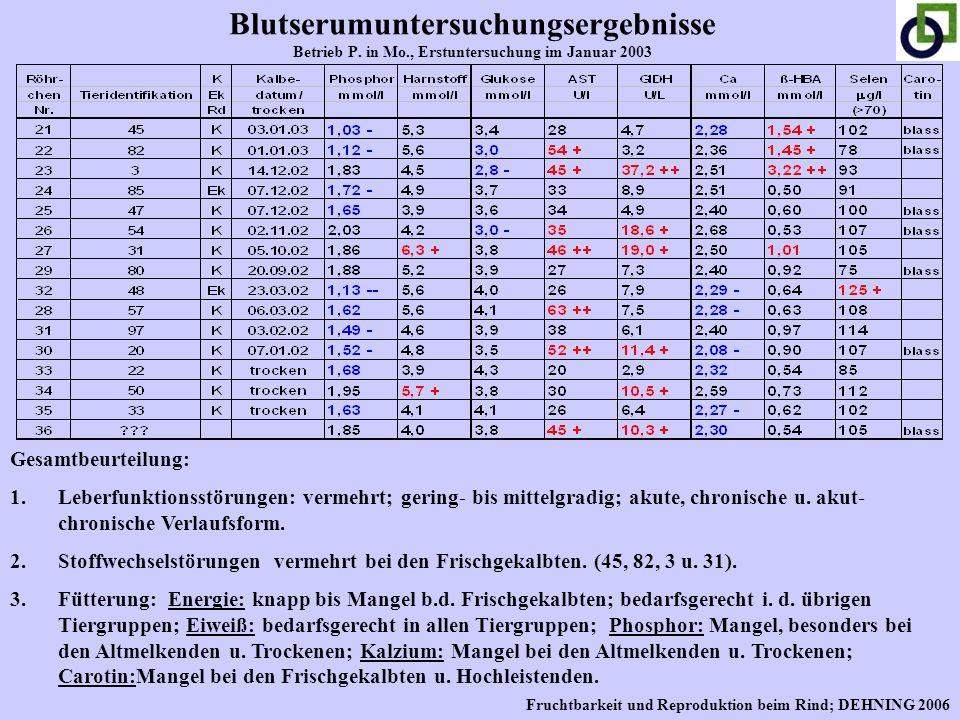 Blutserumuntersuchungsergebnisse Betrieb P. in Mo., Erstuntersuchung im Januar 2003 Gesamtbeurteilung: 1.Leberfunktionsstörungen: vermehrt; gering- bi
