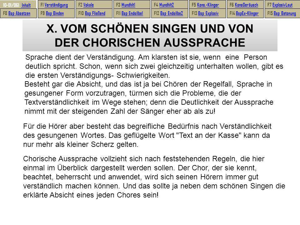 X.VOM SCHÖNEN SINGEN UND VON DER CHORISCHEN AUSSPRACHE Sprache dient der Verständigung.