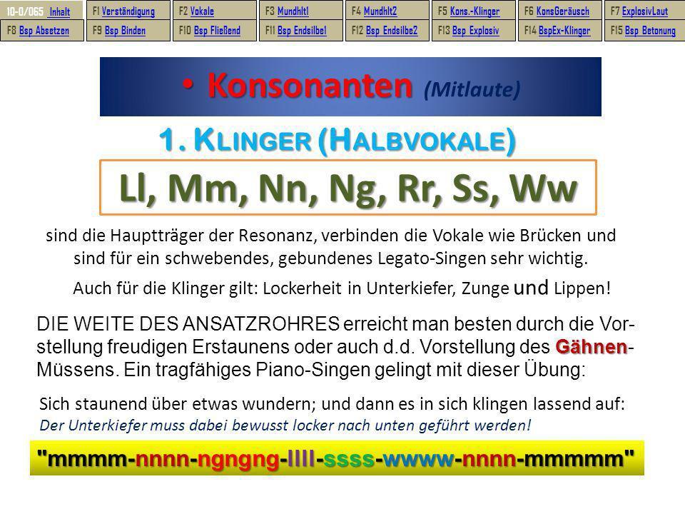 sind die Hauptträger der Resonanz, verbinden die Vokale wie Brücken und sind für ein schwebendes, gebundenes Legato-Singen sehr wichtig. Konsonanten K